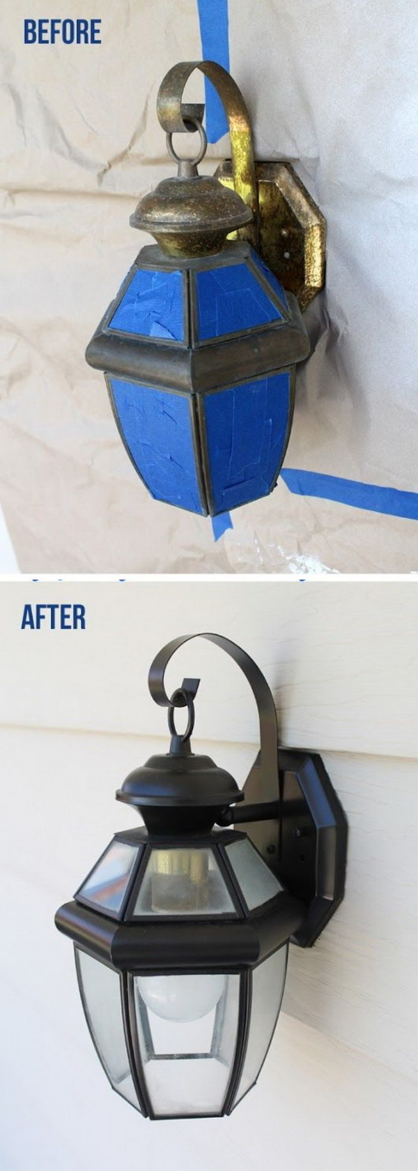 Easy Exterior Light Update with Spray Paint.