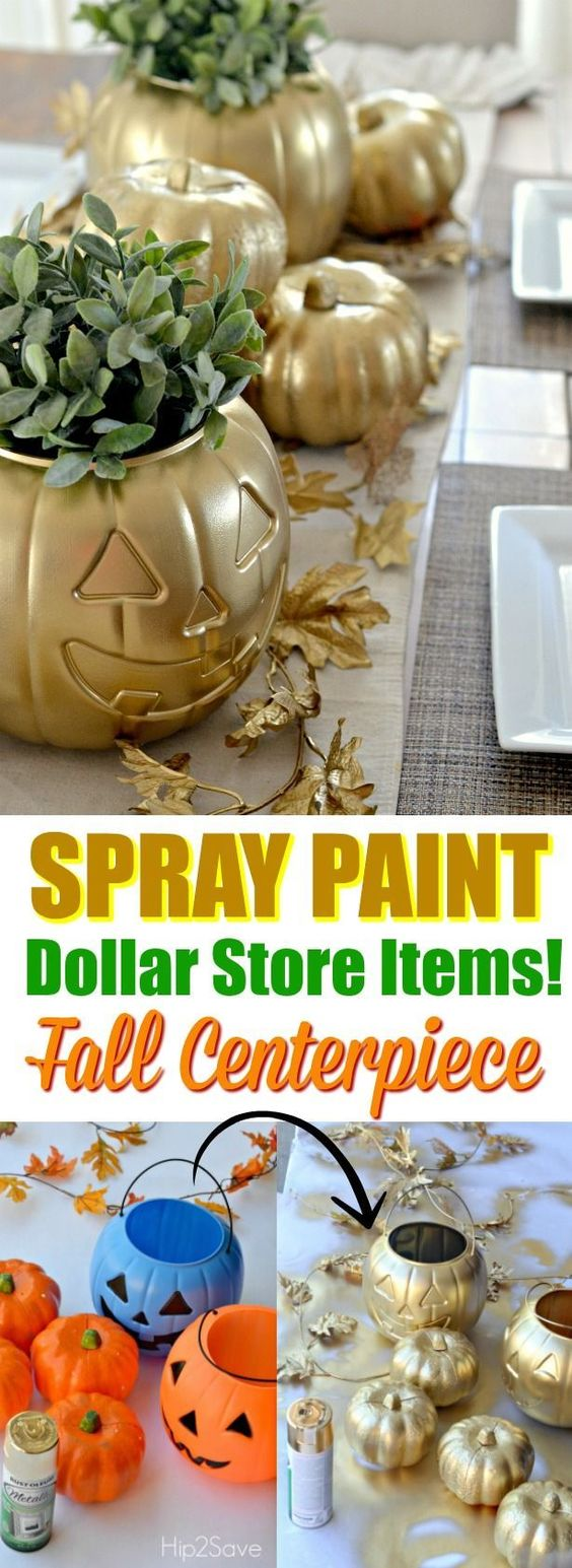 Spray Paint Fall Centerpiece With Dollar Store Pumpkins.