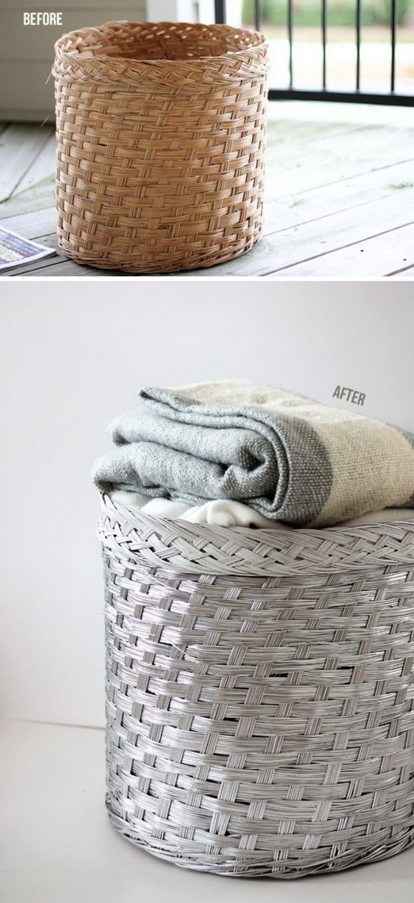 Silver Spray Painted Wicker Basket.