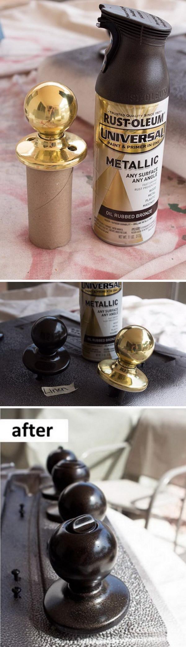 Dated Metal Doorknobs Makeover with Paint.