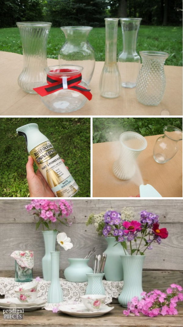 DIY Thrift Store Glass Vase.