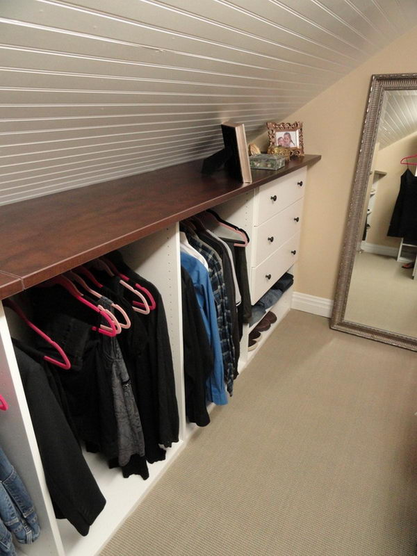 Build An Attic Closet on The Lower part with Shelves and Drawer At The End Of The System.
