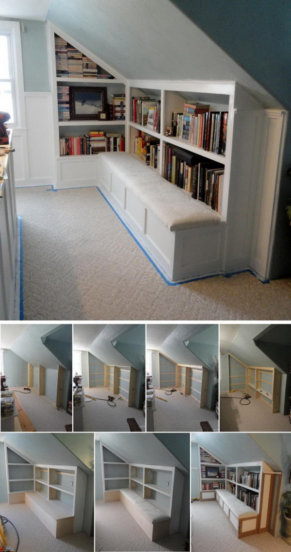 Attic Bench With Book Storage Space.