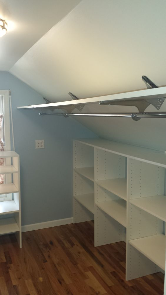 Use Angled Brackets to Maximize Space in Attic Closet.