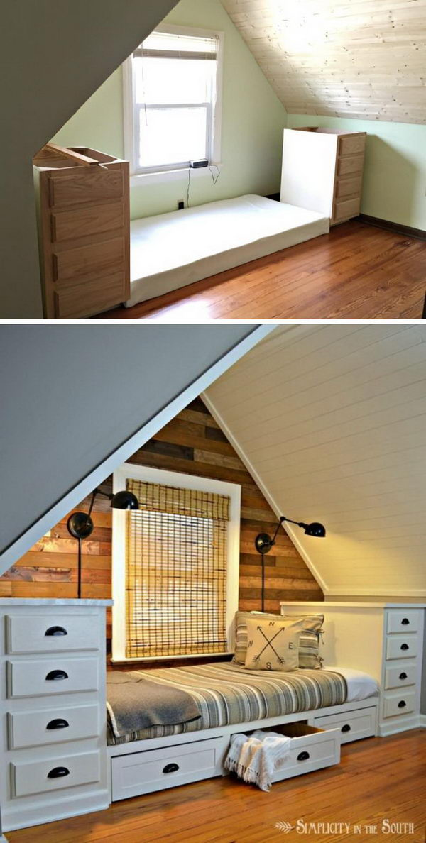 Bed With Storage Space for Attic.