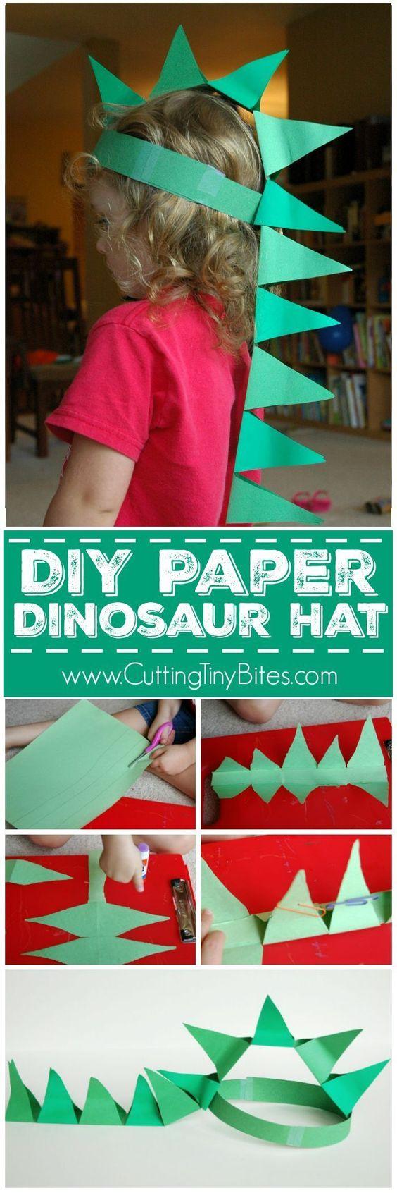 DIY Paper Dinosaur Hat Costume.