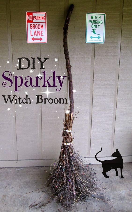 DIY Sparkly Witch Broom.