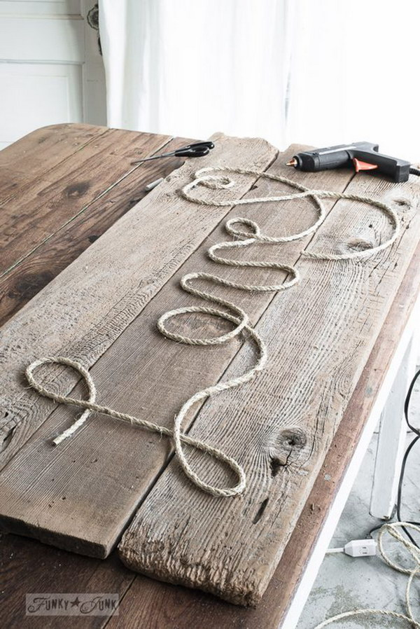 Rustic Twine 'Love' Sign.