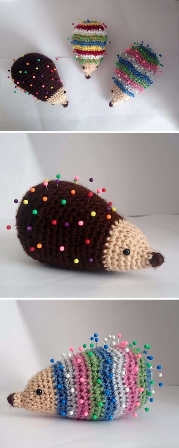 Striped Hedgehog Pin Cushion.
