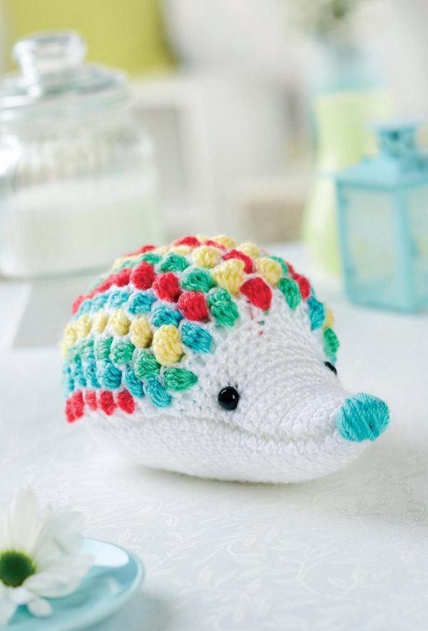 Crochet Rainbow Hedgehog Toy.
