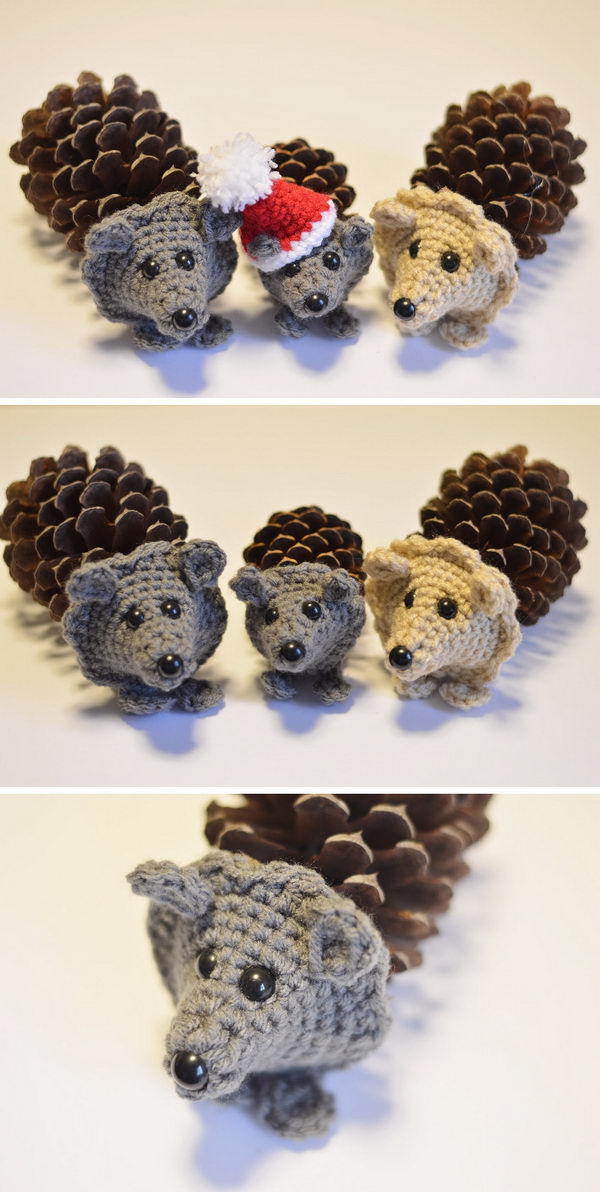 Pine Cone Crochet Hedgehog.