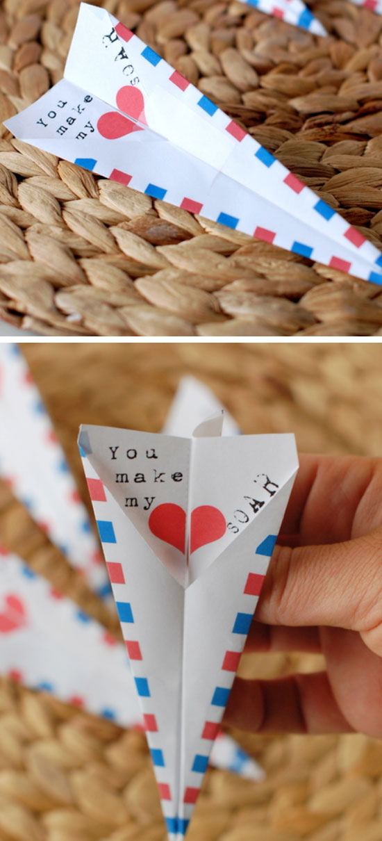 Paper Airplane Valentine Card.