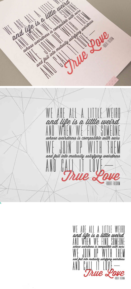 'True Love' Quote Poster & Card.