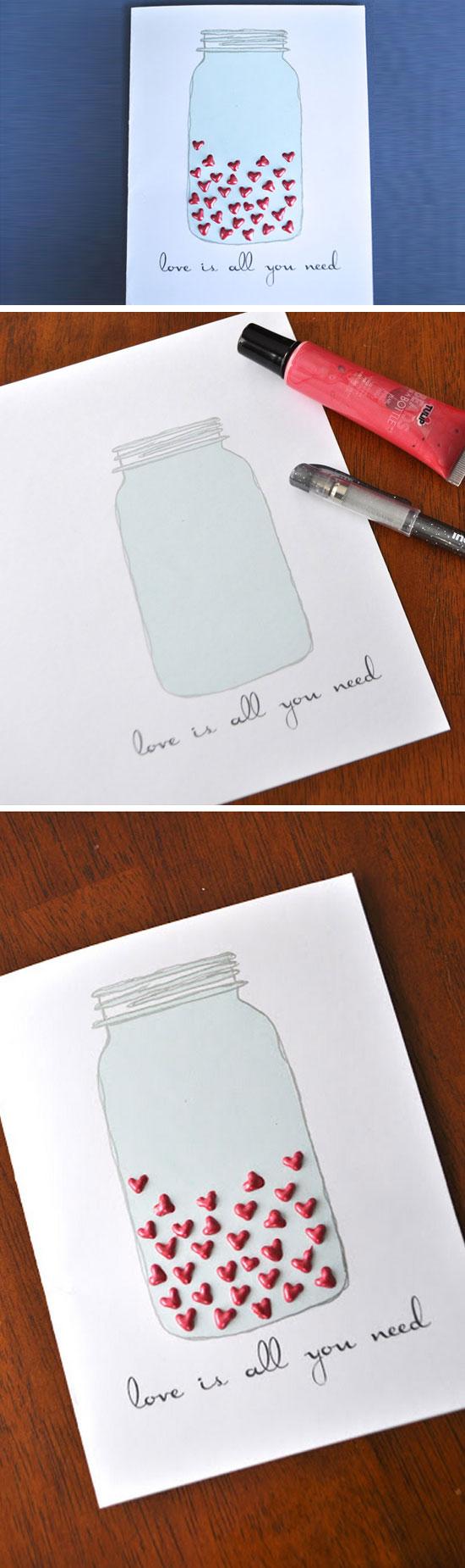 Mason Jar Heart Card.